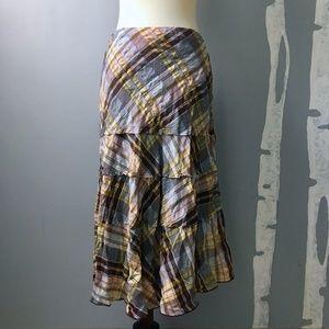 Harold's Skirts - Harold's Tiered Plaid Full Length Skirt Size 6